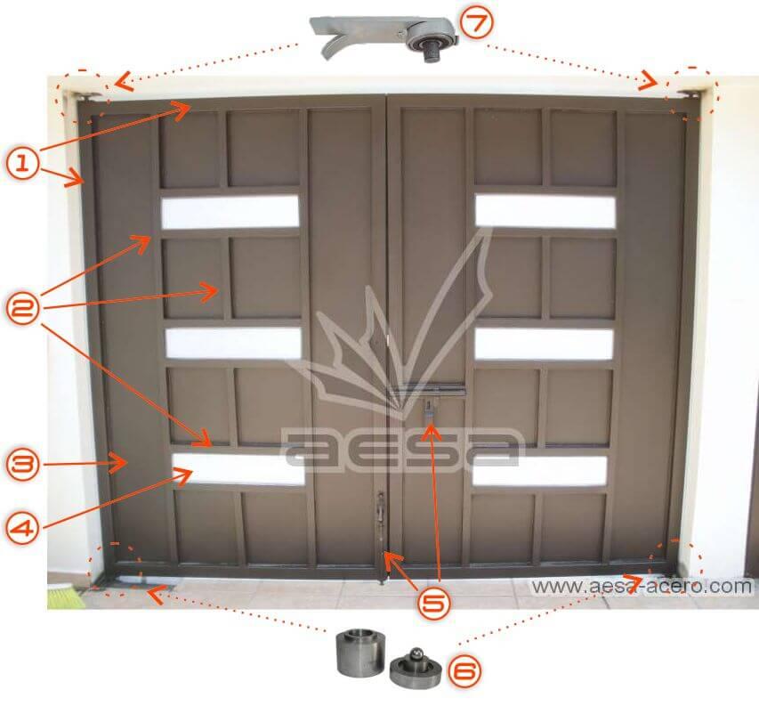 imagen de las partes de una portón de herrería abatible