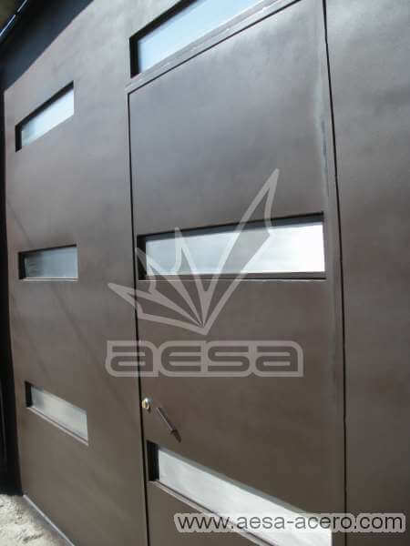 0350-512-porton-moderno-minimalista-rectangulos-horizontales-acero-inoxidable-puerta-integrada