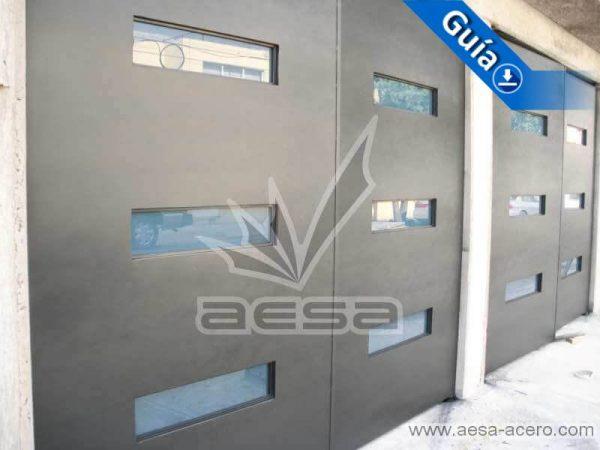 0401-512-porton-minimalista-vidrios-azules-moderno-original-herreria-fina