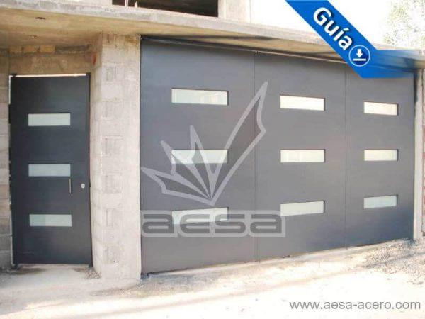0430-512-porton-minimalista-vidrios-rectangulos-horizontales-moderno-azul